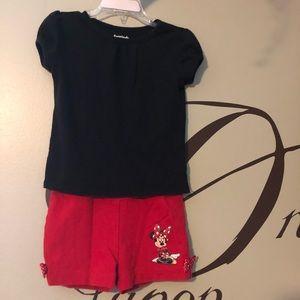 Disney Mini shorts(2T)and black t-shirt 3T